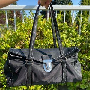 Prada Leather Fold-Over Push-Lock Purse